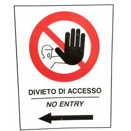 Cartello Divieto di Accesso con Freccia a Sinistra, per Cavalletto Bifacciale